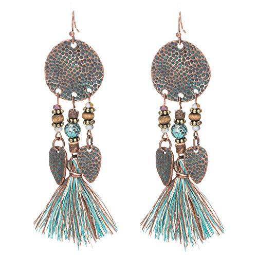 KWWBL Lange Quaste Ohrringe Antik Vintage Pailletten Steine   Ohrring für Frauen Mädchen Jubiläum Hochzeit Party Charms Eardrop Geschenk -
