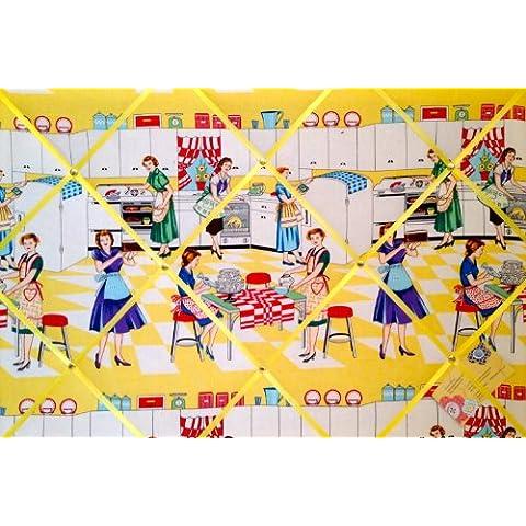 Large Michael Miller Home Economics 50, da donna, da cucina realizzato a mano tessuto avviso/Pin/Memo Board - Michael Miller Crema