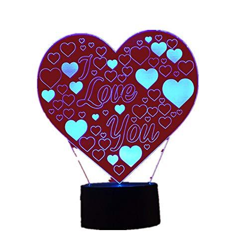 3D Illusion Lampe Liebe/Led Nachtlichter/Verfärbung Bunte Lampe/Home 7 Farbwechsel Schreibtisch Licht/Kinder Nachtlampe/Spielzeug3D (Cooler Schreibtisch Spielzeug)