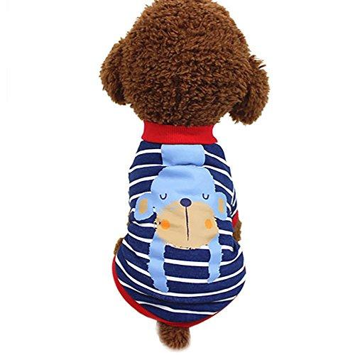 Doublehero Haustier Hund Niedliches Hundekleidung, Pet Kleidung Sommer Baumwolle Tier Gedruckt Kurzarm T-Shirts Kleidung Pet Kleidung Stripen Welpen Kostüme (XS, Rot) (Kurzarm-tier)
