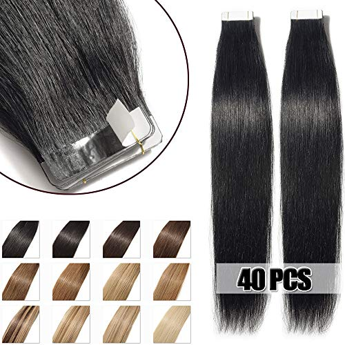 40cm extension capelli veri biadesivo 40 fasce 100g/set remy human hair tape in lisci umani riutilizzabile seamless, #1 nero