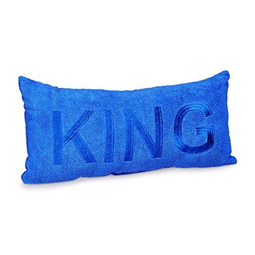 Relaxdays Badewannenkissen Mikrofaser KING HBT ca. 10 x 37 x 15 cm extra weiches Nackenkissen für die Badewanne mit 2 Saugnäpfen als Wannenkissen oder Reisekissen mit gesticktem Motiv, blau -