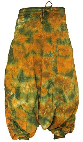 Shopoholic Fashion Hippie bunt Batik Baggy Haremshose, locker sitzend Hose grün senf Mix