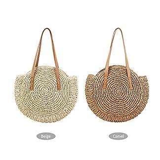 CampHiking® Bolsos redondos de la paja para las mujeres Bolso de la playa del verano Bolso crossbody de la honda del recorrido de doble propósito