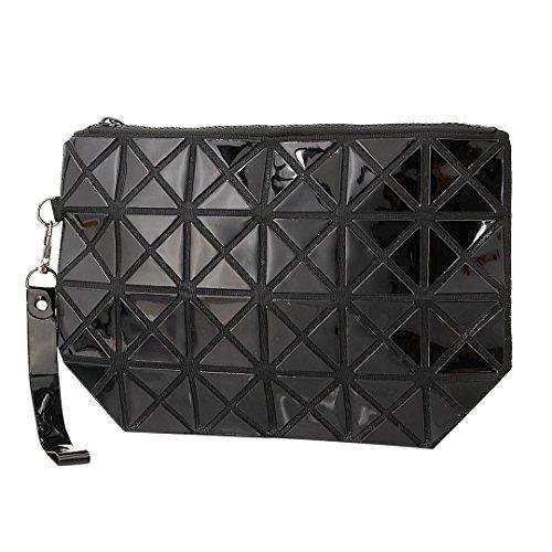Novias Boutique Mode Frauen Geometrische Plaid Handtasche Kosmetiktasche Clutch Party Abendtasche (weiß) schwarz
