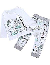 SMARTLADY Bebé Niños Camisetas de manga larga y Pantalones del animales de Dibujos Animados del Estilo del Modelo para Niña Ropa