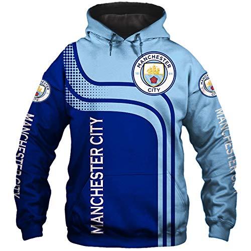 LIFE&SPORTOREY Männer Hoodies Fußball Zum Pullover Sweatshirts Nhl Manchester-City F.C 3D Drucken Jungs Beiläufig Sport Jacke Teen/Blau/M