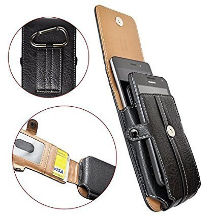 Custodia fondina verticale per meizu m3 max - spazio per due telefoni in resistente simil pelle texturizzata dotata di moschettone e passante per cintura interno scomparti per carte e foto nera
