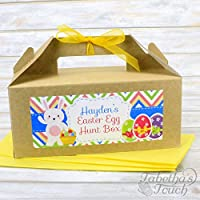 Personalised Kids Easter Egg Hunt Gift Party Treat Box and Tissue Paper