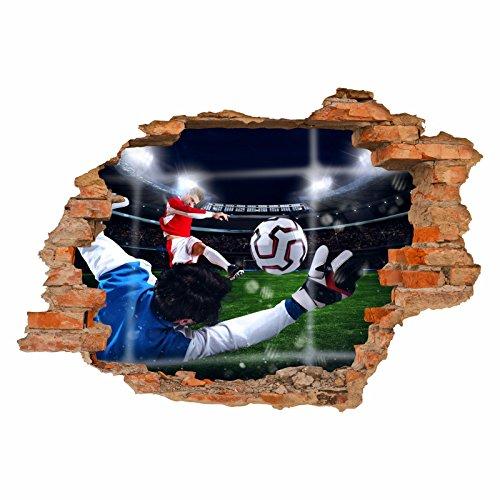nikima Schönes für Kinder 033 Wandtattoo Tor Fussball - Loch in der Wand Stadion - in 6 Größen - Kinderzimmer Sticker Aufkleber Wanddeko Wandbild Junge - Größe 1000 x 700 mm (Wand, Fußball-tor)