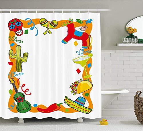 JIEKEIO Fiesta Shower Curtain, Cartoon Drawing Style Mexican Pinata Taco Chili Pepper Sugar Skull Pattern Guitar, Fabric Bathroom Decor Set with Hooks, 60W X 72L Inches Long, Multicolor
