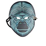 NUOKAI Belichtete sprech-aktivierte grelle Maske Erwachsene Halloween-Horror-Nachtparty-Party Leuchtstoff LED-Maske, Orang-Utan