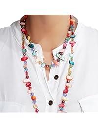 Collares Largos de Colores Mujer Bisutería de Nácar y Perlas de Cristal, Varios Modelos