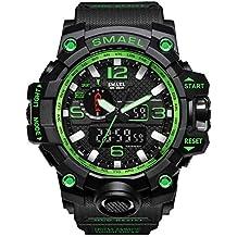 Rocita Multi uomini di funzione della vigilanza di sport casuale impermeabile orologio da polso militari Masculino analogiche del quarzo del LED con la batteria (nero e verde)