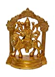 ART SWAG Maa Durga Sherawali Statue- Brass Gold Plated Especially for Diwali Puja and Gift Purpose (4x2x5 inch) (0.62kg)