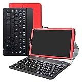 LFDZ Galaxy Tab A 10.1 Tastiera Bluetooth Custodia, Pelle PU Custodia con Tastiera Bluetooth Wireless Removibile Custodia Protettiva Flip per 10.1' Samsung Galaxy Tab A 10.1 T510 T515 2019,Rosso