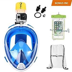 FabQuality Face pleine masque tuba, 180° Vue panoramique, Compatible GoPro et antibuée, conception Anti-Leak, pour adultes et enfants, PLUS Gift-Waterproof Cas Smartphone & Sac de sport