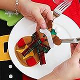 Besteckhalter Weihnachten Hirolan Weihnachtliche Tischdeko 3 Stück Weihnachten Weihnachten Dekor Sankt Küche Geschirr Halter Schneemann Tasche Abendessen Besteck Tasche (Rot) - 3