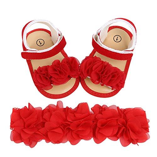 Alwayswin Neugeborenes Baby Mädchen Haarband + Blumen Pailletten Sandalen Erste Wanderer Schuhe Prinzessin Schuhe Weiche untere Schuhe Kleinkindschuhe + Haarband Set - Gestickt Ersten Geburtstag Kleid