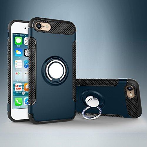 Phone Case & Hülle Für iPhone 6 & 6s Magnetische 360 Grad Rotation Ring Rüstung Schutzhülle ( Color : Black ) Navy