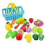 Forweilai Spielzeug Lebensmittel Kinder - 15 Stück Spielküche Zubehör - Korb mit Schneide Gemüse und Obst - Plastik Lebensmittel Kinder-Rollenspiele - (Blau)