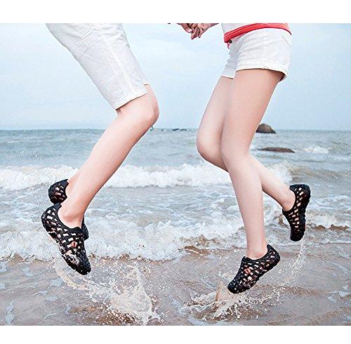 Minetom Unisexe Été Coloré Antidérapant Respirant Creux Sandales Chaussons Flip Flops Tongs Pluie Plat Chaussures Plage Noir