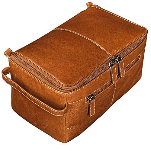 486cda77a STILORD 'Mona' Bolsa de Maquillaje para Mujeres hacer Neceser marrón XL  Grande Bolsa de Lavado de piel cuero auténtico Vintage Design marrón cognac