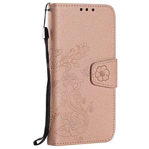 Detchable 2 in 1 PU + TPU Ledertasche Embossed Blumen Style Shining Sparkles Brieftasche Stand Case Cover mit Kreditkarte Slots & Lanyard & Magnetic Closure für Samsung Galaxy J3 2016 ( Color : Rose G Pink