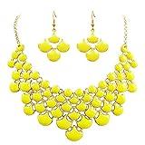 Jane Stone Damen Halskette und Ohrringe Set geometrische Statement Kette Modeschmuck Collier aus Resin und Metalllegierung (Gelb Set)