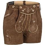PAULGOS Damen Trachten Lederhose + Träger, Echtes Leder, Sexy Kurz, Hotpants in 5 Farben Gr. 34-44 H1 (38, Hellbraun)