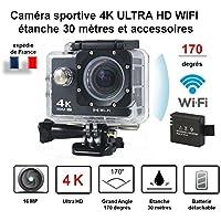Mini caméra sport action / caméra embarquée noire 4K Ultra HD wifi avec caisson étanche 30 mètres