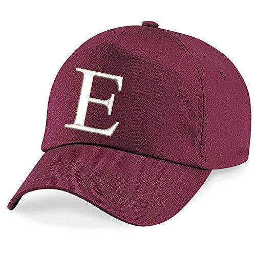 Casquette 4sold Unisexe Broderie Coton Baseball Cap Garçons Filles Hip Hop Flat Hat Bonnet A-Z Alphabet Burgundy E