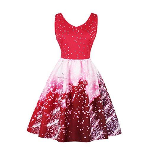 age Ärmellos V-Ausschnitt Weihnachten Party kleid Xmas Print A-Line Spitze Swing Kleid Weihnachtskostüm Plus Size (3XL,A-Rot) (Plus Size Weihnachts Outfits)