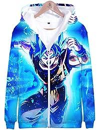 RJHWY Unisex 3D Sudaderas con Capucha Jersey Ropa Abrigo Chaqueta con Capucha Sudadera Cremallera Dragon Ball