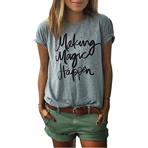 Yantu Damen girl Sunmmer Rundhals Top Weich Baumwolle Oversize Funny Schöne Print T-Shirt (S)