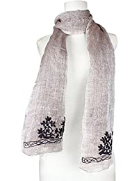 Vozaf Women's Linen Modal Shawls - Beige And Black