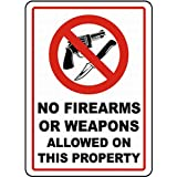 Geen vuurwapens of wapens Lichtgewicht metalen tin plaque stevige en duurzame retro look die nooit vervaagt 20 * 30 cm