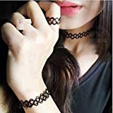 #2: ITS-New Style Black Tattoo Choker Elastic Stretch Necklace Ring Bracelet Set .