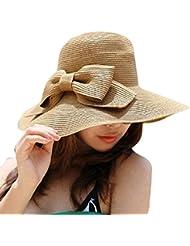 Tongshi Bohemia Verano Sun Floppy Sombrero de la playa de la paja del borde grande ancho Cap