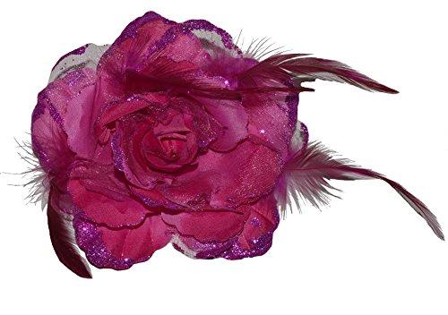 Haarschmuck mit Federn Haarblume Ansteckblume Ansteckblüte Glitzer Hochzeit Karneval (Pink)