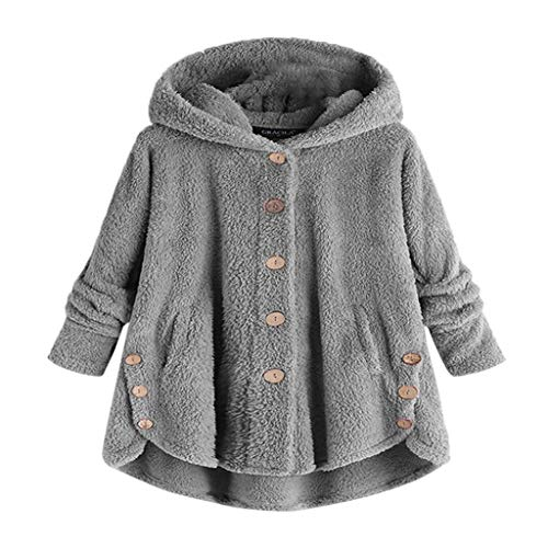 TianWlio Damen Herbst Winter Jacken Parka Mäntel Mode Knopf Mantel Flauschige Schwanz Tops mit Kapuze Pullover Kurze Lose Pullover Grau XL