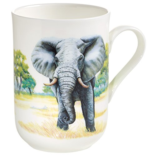 Maxwell & Williams Animals of The World Becher Elefant, Geschenkbox, Porzellan, PBA0001 Vaso, Porcelana, Blanco, 10.5 x 7.5 x 10.5 cm