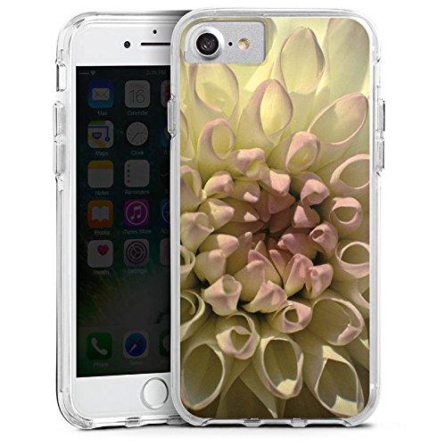 Apple iPhone X Bumper Hülle Bumper Case Glitzer Hülle Blume Flower Dahlie Bumper Case transparent