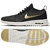 Nike Air Max Thea Ultra FK Mtlc Schuhe Sneaker Neu (EU 40 US 8.5 UK 6, Black/Mtlc Gold Star-Ivory)
