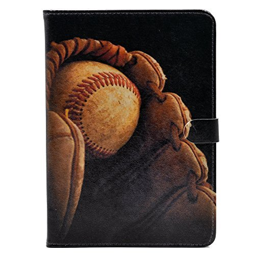 Baseball in Handschuh Vintage Muster Leder Flip Ständer Schutzhülle für Apple iPad Mini 1, iPad Mini 2Retina, iPad Mini 3 -