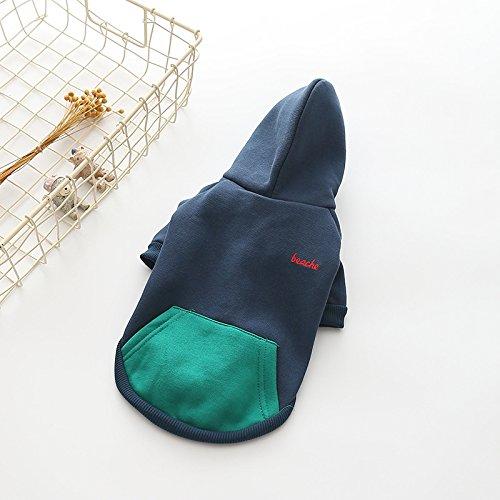 Moolecole Zip-up Kapuzenpullover Haustier Kostüm Hund Kleider Outfit Komisch Haustier Bekleidung Für Französisch Bulldogge Und Mops Dunkelblau 2XL - 6