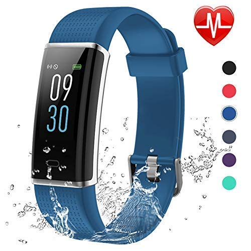 Lintelek Fitness Armband,Fitness Tracker mit Pulsmesser 0,96 Zoll Farbdisplay Fitness Uhr Armband Uhr Schlafmonitor Aktivitätstracker 14 Trainingsmodi Vibrationsalarm GPS (Blau) MEHRWEG