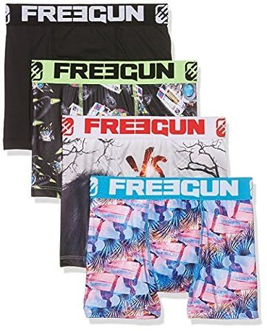 Freegun X4, Boxer Garçon, Multicolore, 13-14 Ans (Taille Fabricant:12/14) (lot de 4)