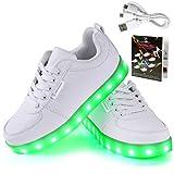Angin-Tech LED Schuhe 7 Farbe USB Aufladen LED Leuchtend Sport Schuhe Sportschuhe LED Sneaker Turnschuhe für Unisex-Erwachsene Herren Damen mit CE-Zertifikat 36 EU Weiß