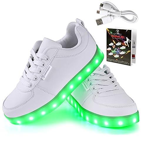Angin-Tech LED Schuhe 7 Farbe USB Aufladen LED Leuchtend Sport Schuhe Sportschuhe LED Sneaker Turnschuhe für Unisex-Erwachsene Herren Damen mit CE-Zertifikat 39 EU Weiß